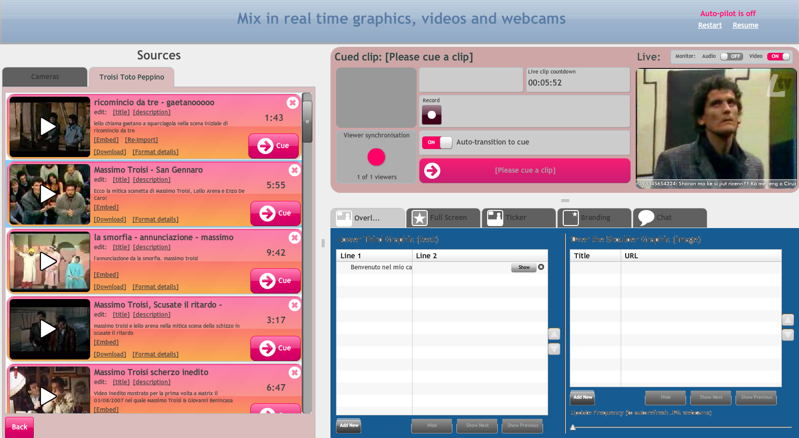 screen shot dell'app per la web-tv